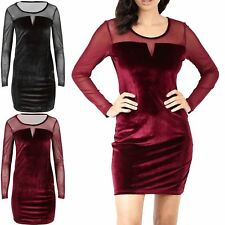 Womens Velvet Velour Mesh Insert Bandage Ladies Long Sleeve Bodycon Mini Dress