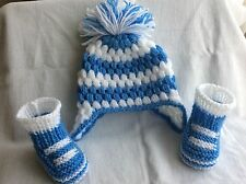 Hand knitted /crochet baby boy booties/ crochet hat 0-3 months