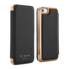 OFFICIAL Ted Baker SHAEN Mirror Folio Case for Apple iPhone with Black/Rose Gold