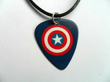 CAPTAIN AMERICA Double Sided Guitar Pick / Plectrum Leather Necklace 2 to Choose