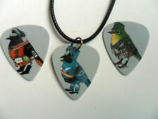 BIRD SOLDIERS Double Sided Guitar Pick / Plectrum Leather Necklace 3 to Choose