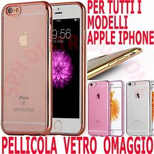 COVER + Pellicola in VETRO Custodia BUMPER SILICONE e sottile per Apple Iphone
