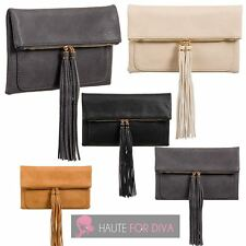 NEW WOMEN'S FAUX LEATHER TASSEL DETAIL FLAP COMPARTMENT CLUTCH BAG