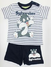 Baby Boys Looney Tunes Shorts & T Shirt Set Navy Stripe