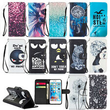 Card Holder Wallet Case For Various Phones PU Leather Cute Patterns Stand Cover