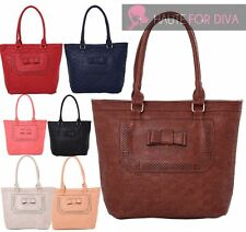 NEW FAUX LEATHER BOW EMBELLISHMENT EMBOSSED CHECK PATTERN SHOPPER TOTE BAG