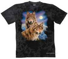T-SHIRT BATIK BLACK Animale Deserto & motivo NATURALE MODELLO LUPO MOON