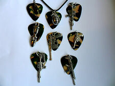 Camouflage Guitar Pick Leather  Necklace and Weapon Charm  Eight To Choose