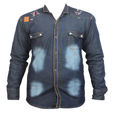 Long Sleeve Denim Patch Dark Blue Men's Casual Shirt_40