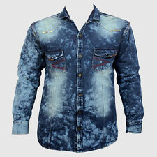 Denim Long Sleeve Shaded Men's Casual Shirt