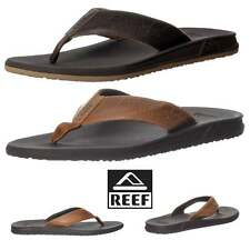Hommes Reef Phantom Le Tongs Plates Cuir Sandales Plage Marron Taille Neuf