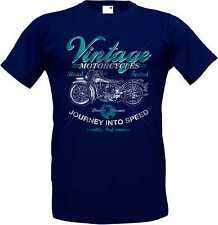 T Shirt Blue HD V Twin Biker chopper&old schooldruck Model Vintage Motorcycles
