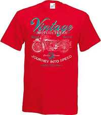 T Shirt in red Biker Chopper & Old Schooldruck Model Vintage Motorcycles