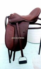 Leather Dressage Treeless Saddle Light Brown in 7 sizes with Accessories