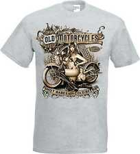 T-Shirt in ash with a Biker Chopper & Old Schooldruck Model Old Motorcycles