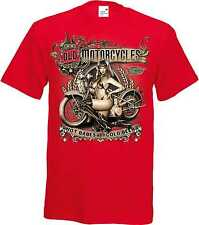 T Shirt in red with a Biker Chopper & Old Schooldruck Model Old Motorcycles