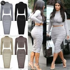 Da Donna A Manica Lunga Ladies Bodycon Top Corto Gonna Media A Tubino coordinato