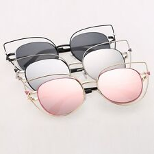 Fashion Hot Womens Flat Lens Mirror Metal Frame Oversized Cat Eye Sunglasses
