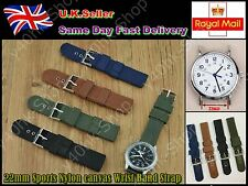 22mm Sports Nylon canvas Wrist Band Strap For Any buckle Watch