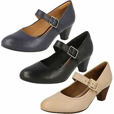 'Ladies Clarks' Rounded Toe Mary Jane Heeled Buckled Shoes - Denny Date