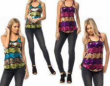 SEQUIN VEST TANK CAMISOLE HOLIDAY SUMMER PARTY BLING TOP SIZE 10 12 14 16