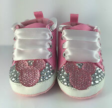 Handcrafted Baby Girl Disney Minnie MousePram Crib Shoes Princess Romany Bling