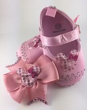 Customised Baby Girl Pink Satin Minnie Mouse Sandals Crib Pram Shoes & Headband
