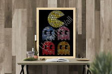 Pac Man Ghosts Inky A3 A4 Poster Pinky Blinky Clyde Retro Gaming