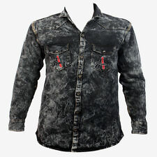 Denim Double Pocket Long Sleeve Black Shaded Pattern Men's Casual Shirt