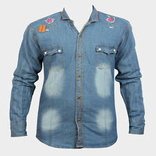 Denim Long Sleeve Blue Patch Pattern Men's Casual Shirt