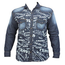 Denim Long Sleeve Blue Printed Pattern Men's Casual Shirt