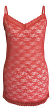 Ladies Womens Floral Lace Mesh Long V Neck Coral Pink Camisole Cami Vest sun Top