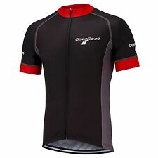 Mens short sleeve cycling jersey black red grey full zipper OpenRoad Sports New