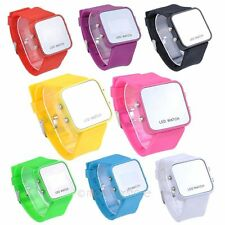 Display LED Gel Silicone Orologi Specchio Digitale Data Sport Unisex Da Polso MJ