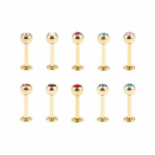 PVD GOLD Titanium Jewelled 1.6mm Labret - FREE UK Delivery!