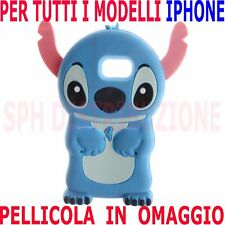 COVER + Pellicola LILO & STITCH 3D Custodia in GOMMA SILICONE per Apple Iphone
