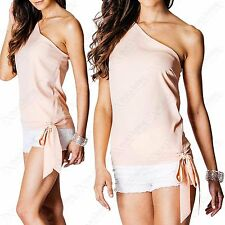 NEW LADIES OFF COLD SHOULDER TOP ONE SIDE TIE ASYMMETRIC WOMENS LOOK TOPS BLOUSE