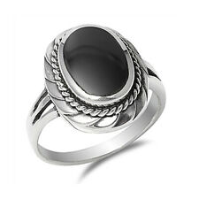 Fine Women 20mm 925 Sterling Silver Simulated Black Onyx Ladies Ring Band