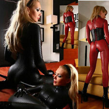 New Women's Sexy Wetlook Vinyl PVC Bodysuit Jumpsuit Zipper Teddy Catsuit M L XL