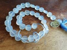 34 pieces light blue smoky chalcedony 7mm faceted rounds beads gemstone