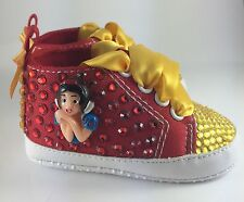 Customised Handcrafted Baby Girl Disney Snow White Crib Shoes Romany Crystal
