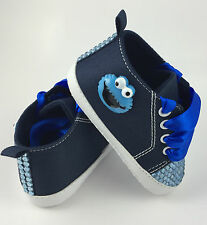 Handcrafted Baby Cookie Monster Crib Pram Shoes Romany Bling Sesame Street