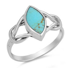 Women 12mm 925 Silver Marquise Turquoise Celtic Knot Vintage Style Ring Band