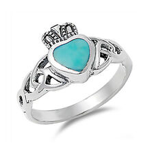 Women 11mm Silver Turquoise Celtic Knot Heart Claddagh Vintage Style Ring Band