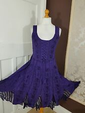 Gothic Lace Up Pagan Boho Hippie Rayon&Georgette Floral Embroidered Dress 24/26