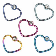 TITANIUM Coated Surgical Steel Jewelled Heart Shaped Ring - FREE UK Delivery!