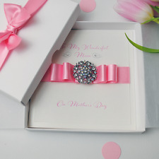 Luxury Mother's Day Handmade Personalised Boxed Card with PINK ribbon