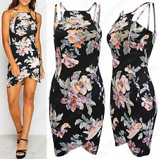 NEW LADIES STRAPPY FLORAL PRINT ASYMMETRIC WRAPOVER WOMENS BLACK BODYCON DRESS