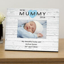 Mothers Day Gifts -New Mummy personalised 6x4 wooden photo frame