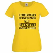 Ladies Respect Existance Yellow T-Shirt AntiFracking Protest Peoples Movement